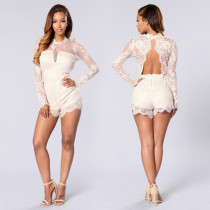 Sexy Women Lace Patchwork Backless Playsuit Elegant Lacework O-Neck See-Through Party Jumpsuit SN0556