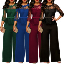 Sexy Lacework Solid Color Long Sleeves Lace Overalls Jumpsuits & Rompers DL5433