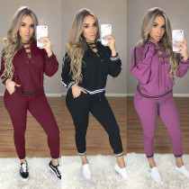 Sexy Side Stripes Hoodies Crisscross  Two Pieces Jumpsuits & Rompers NWY10