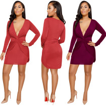 Sexy Women Club Deep V Neck Cross Knit Bodycon Mini Dress Long Sleeves Fold Elastic Dress NWY8519