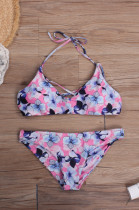 Tropical Style Women Floral Printed Halter Lace up Bikini Swimwear LR1829
