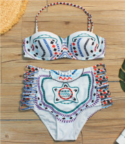 Folkloric Style Geometric Totem Pattern Halter Lace up Empire Waist Bikini Swimwear LR1828