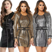 Nightclub Women Pinstriped Sequins Eyelet Lace-up Girdle Bodycon Dress QJ5220