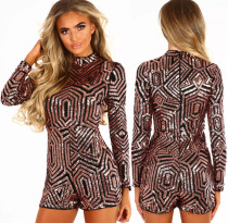 Sexy Women Geometric Sequins Embroidery Playsuit Nightclub Style Turtleneck Spliced Rompers QJ5218