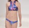 Sport Style Bikini Swimwear Bright Printed Zipper Patchwork Swimsuit LR1853