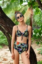 Tropical Style Printed Bow Empire Waist BiKini Swimwear LR1845