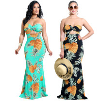 Casual Women Pineapples Printed Strapless Long Dress Y060