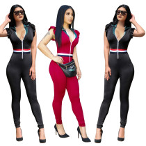 Sexy Women Zipper Turn Down Collar Patchwork Ruffles Sleeves Skinny Jumpsuit NWY8568