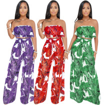Leaves Pattern Ruffles Strapless Top & Empire Wide Pants Two Pieces Set Y066