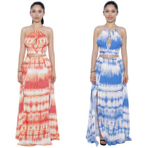 Bohemian Style Tie-Dye Halter Short Top & Split Maxi Dress Two Pieces Set Y065