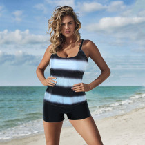 Plus Size Color Gradient Split Swimsuit LR1872