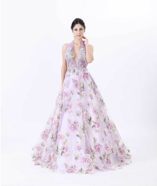 V-neck Organza Print Evening Gowns Advanced Customization