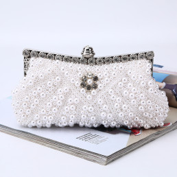 Cocktail Party Purse Faux Pearl Evening Clutch