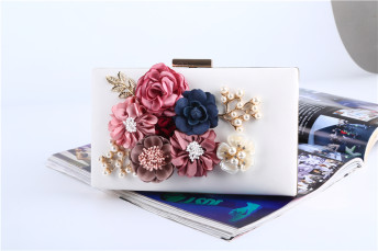 Evening Bag and Clutch with Floral Pearl Details Elegant Prom Handbags Party Purse