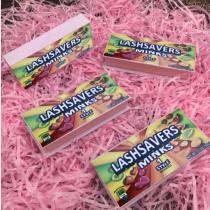 print logo pink glitter box lashes