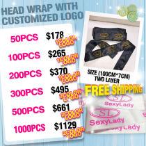 Comstics print logo Headwraps silk scarf