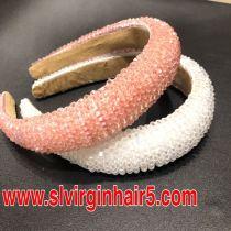 pink&white Crystal headband styles