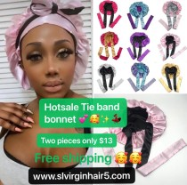 sample order :2 pieces Tie band double layer reversible bonnets
