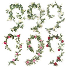 Artificial 1.95M Eucalyptus Garland with Champagne Roses Greenery Garland Eucalyptus Leaves Wedding Backdrop Wall Deco