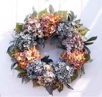 22 inch / 56cm Autumn Hydrangea Wreath Door Decoration Ornaments Christmas New Year Supply Wedding Artificial Flowers