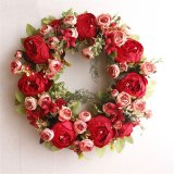 High Quality Diy Christmas Wreath Material Pink Rose Red Peony Artificial Flower Valentine's Day Wreaths 40cm Door Decoration