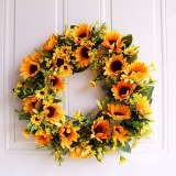 1PC Artificial Sunflowers Wreath Door Hanging Flower Wreath With Yellow Sunflower And Green Leaves for Wall Window Home Party Decor