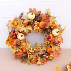 50cm Artificial Pumpkin Wreath Autumn Harvest Maple Leaf Front Door Garland Thanksgiving Decoration Halloween Party Supplies