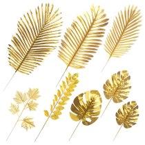 Golden Series  Artificial Monstera Plants Plastic Tropical Palm Leaves Home Garden Decor Accessories Photography Decor Leaves
