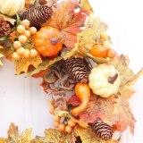 50cm Artificial Pumpkin Wreath Autumn Harvest Maple Leaf Front Door Garland Thanksgiving Decoration Halloween Party Supplies