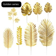Golden Series  Artificial Monstera Plants Plastic Tropical Palm Leaves Home Garden Decor Accessories Photography Decor Leaves
