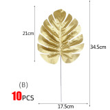 10pcs Golden Silver Palm Tree Front Tropical Palm Leaves Simulation Wedding Party Decoration 2m Artificial Flower Garland Hanging