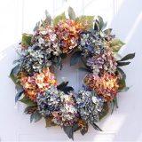 22 inch / 56cm Autumn Hydrangea Wreath Door Decoration Ornaments Christmas New Year Supply Wedding Artificial Flowers