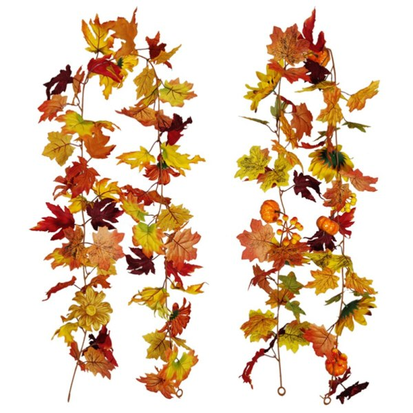 1Pc 175CM / 5.74FT Simulated Pumpkin Maple Rattan Autumn Maple Leaves Rattan Sunflower Berries Decoration Ornament Pendant for Thanksgiving Christmas