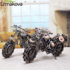 21cm Vintage Motorcycle Model Retro Motor Figurine Iron Motorbike Prop Handmade Boy Gift Kid Toy Home Office Decor