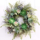 Fashion-22 Inch Artificial Succulent Wreath Fern Plants Spring Backdrops Ornaments Garland Front Door Wreaths Display for Home/W