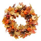 Artificial Wreath Garland Rattan Frame With Pumpkin Berries Pine Cone And Maple Leaves Halloween Thanksgiving Autumn Holiday D
