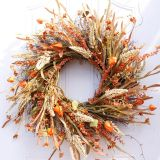24 inch Artificial Fall Harvest Fall wreaths for Front door Thanksgiving Decor