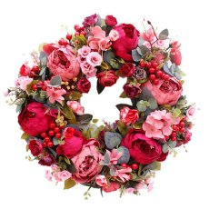 Decorative Door Wreath,Silk Flower Peony Head Flower Wreath 40cm Handmade Garland for Autumn Winter Outdoor Display Red