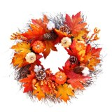 Halloween Autumn Holiday Pumpkin Maple Leaves Wreath Thanksgiving Day Front Door Wall Hanging Garland Wedding Home Decorations