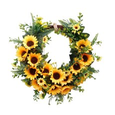 40CM Unique Simulation Sunflower Wreath Door Wall Ornament Leaves Garland Hanging Adornment For Party Home Decoration