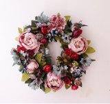 Fake Peony Flowers Wreath Home Door Simulation Rose Garland for Wedding Christmas Decorations Thanksgiving Flower Verde Navidad