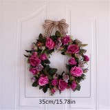 Artificial Flowers Wreath Door Wall Hanging Pink Rose Peony Wreath Navidad Autumn Decoration Accessories Fake Flowers Wreath