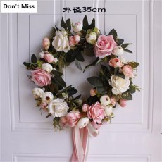 Artificial Flowers Wreath Door Wall Hanging Pink Rose Peony Wreath Navidad Autumn Decoration Accessories Fake Flowers Wreath