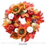 50cm Halloween Pumpkin Wreath Autumn Harvest Door Garland Thanksgiving Supplies 11UA