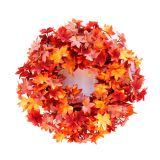 61cm Halloween Autumn Harvest Maple Leaf Front Door Wreath Garland Thanksgiving Decoration