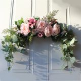 Floral Swag Artificial Flowers Peony Wreath Handmade Garland for Mirror Home Wedding Party Door Lintel Decoration