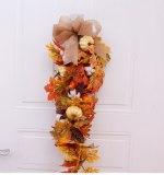 Artificial Wreath Autumn Christmas Thanksgiving Home Door Garland Pumpkin Cotton Pine Cone Garland Wall Hanging Decor
