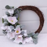 Artificial Magnolia Flowers Peony Wreath for Front Door Farmhouse Wreath for All Seasons Christmas Wedding Half Coverage