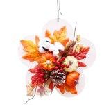 Artificial Fall Wreath with Pumpkins Berries Maple Leaves Fall Berry Wreath Autumn Harvest Garland Wreath Halloween wreath