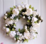 White Peony Wreath Door Ornament Candlestick Decoration Simulation Flower Fake Wreath Portable Ornaments for Wedding Decoration